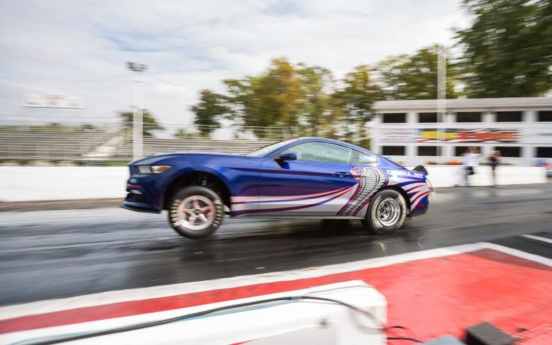 2016 Cobra Jet Mustang leaping off the line...