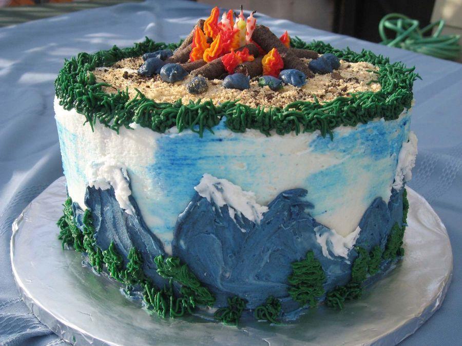 Campfire/mountain Mountain cake, Fire cake, Nature cake
