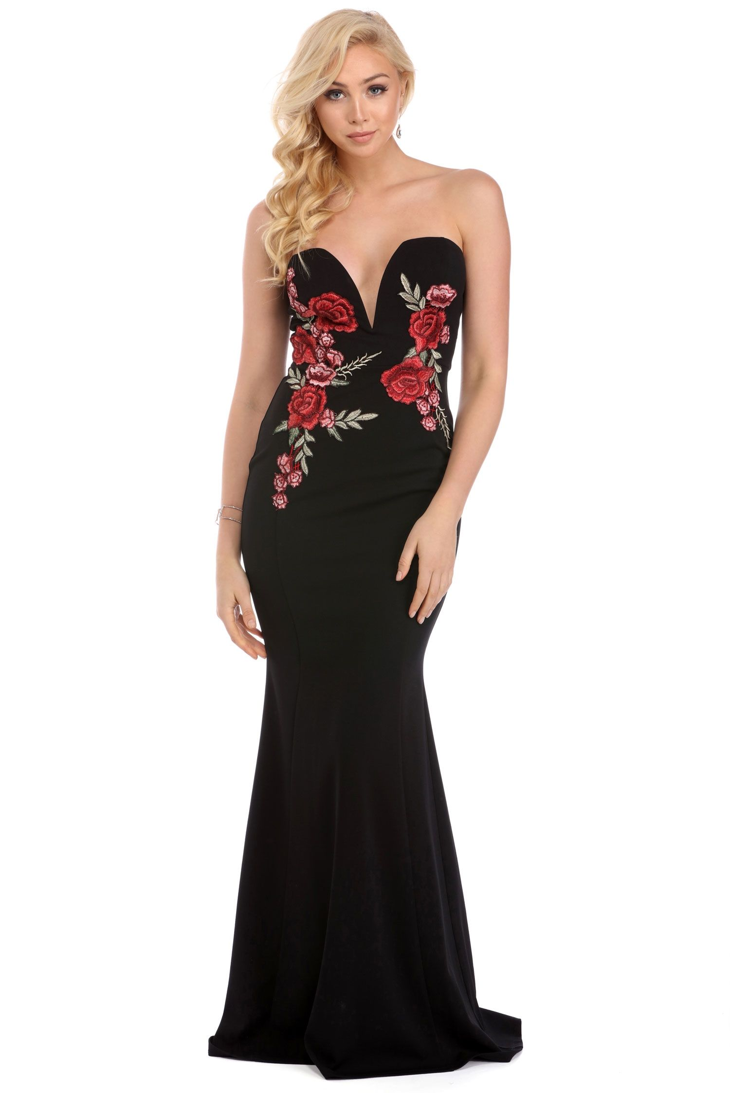 Rosa black rose embroidered dress red carpet ready pinterest