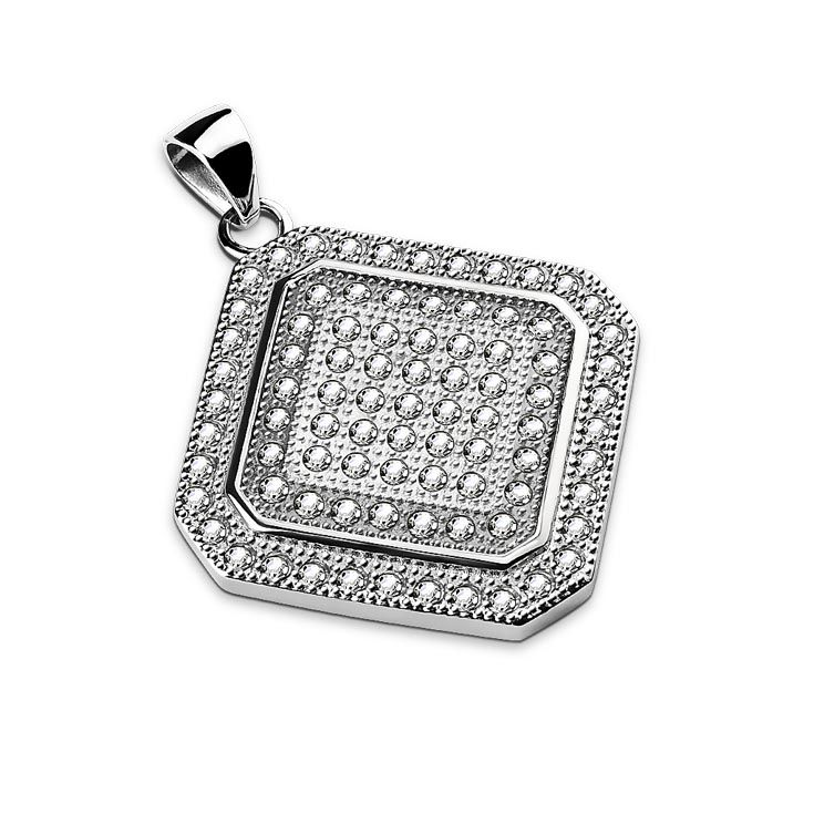 Good morning from our new Gem Paved Square Diamond Shaped Stainless Steel Pendant #Hollywood #BodyJewelry #Piercing #Jewelry #BodyPiercing #StainlessSteel #Pendant #Pendants