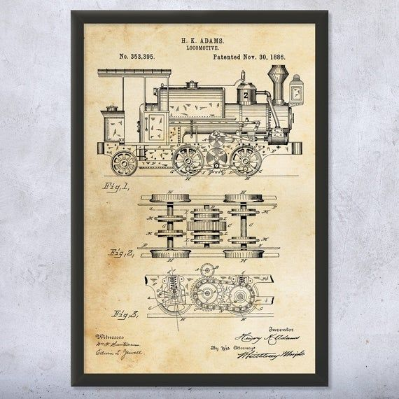 Steam Locomotive Poster Print Train Conductor Railway Worker Train Blueprint