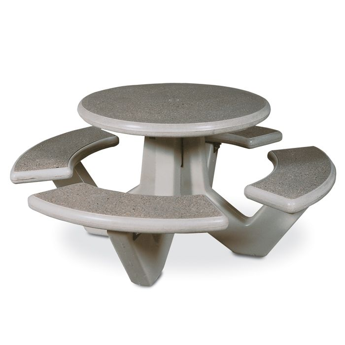 66 Round Concrete Picnic Table with Polished Stone Finish