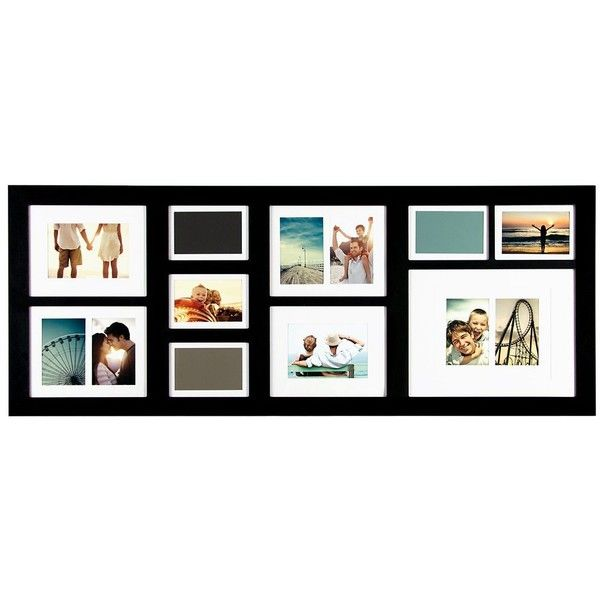 Long Black 10-Opening Collage Frame ($50) ❤ liked on Polyvore ...