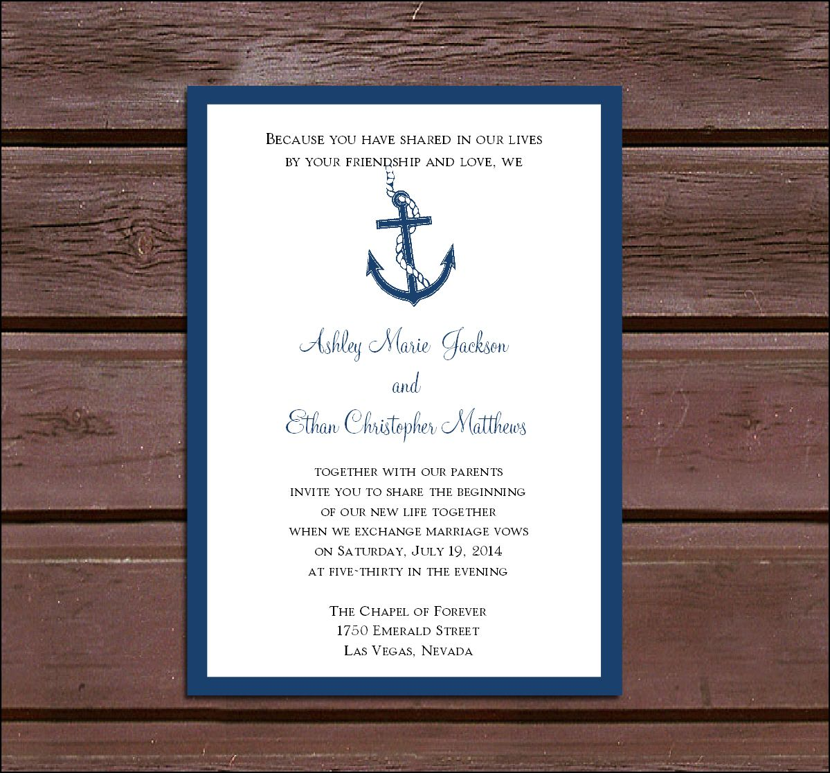 Nautical Wedding Invitation Template Wedding invitations
