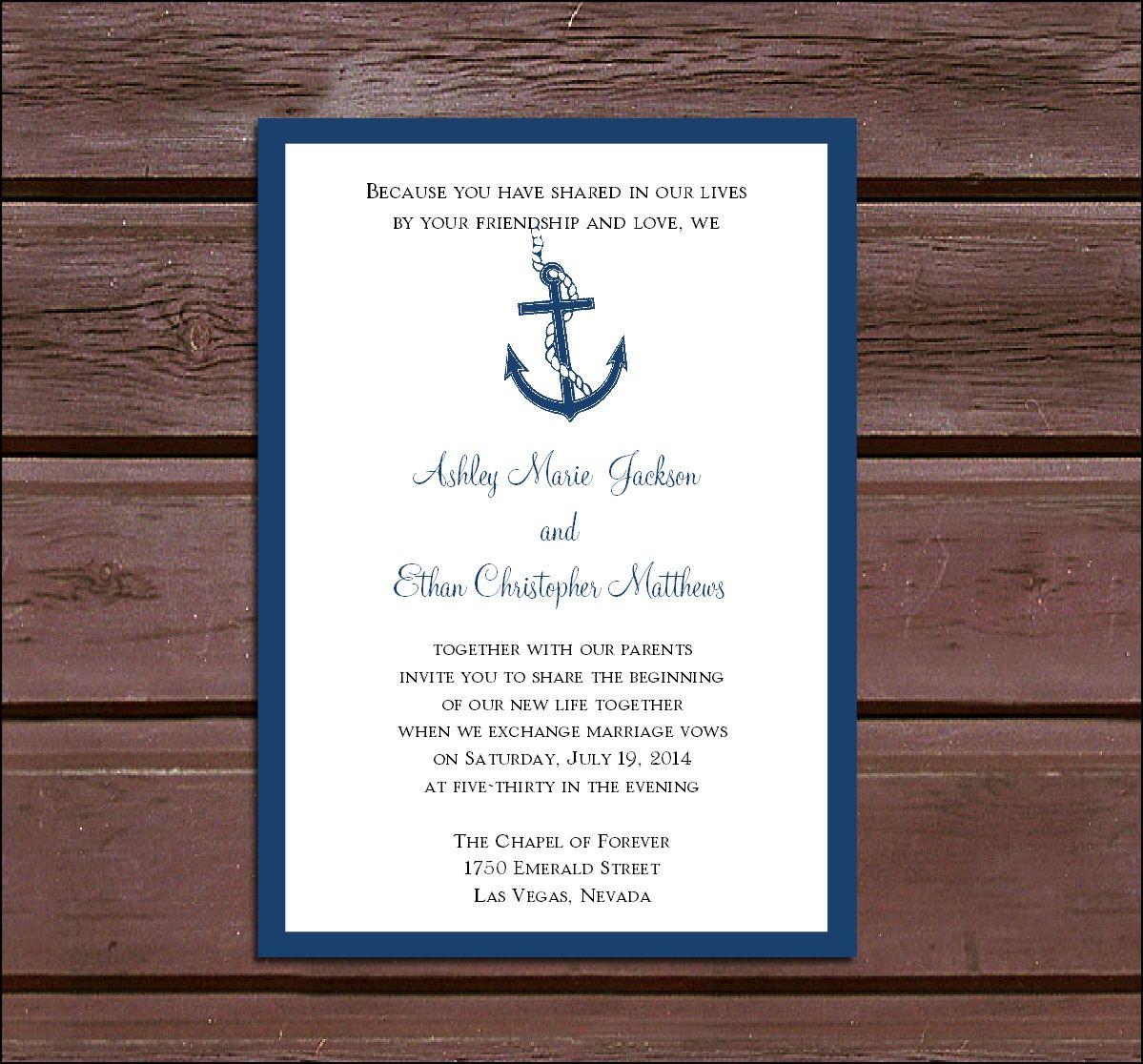 Nautical Wedding Invitation Template | Wedding invitations ...