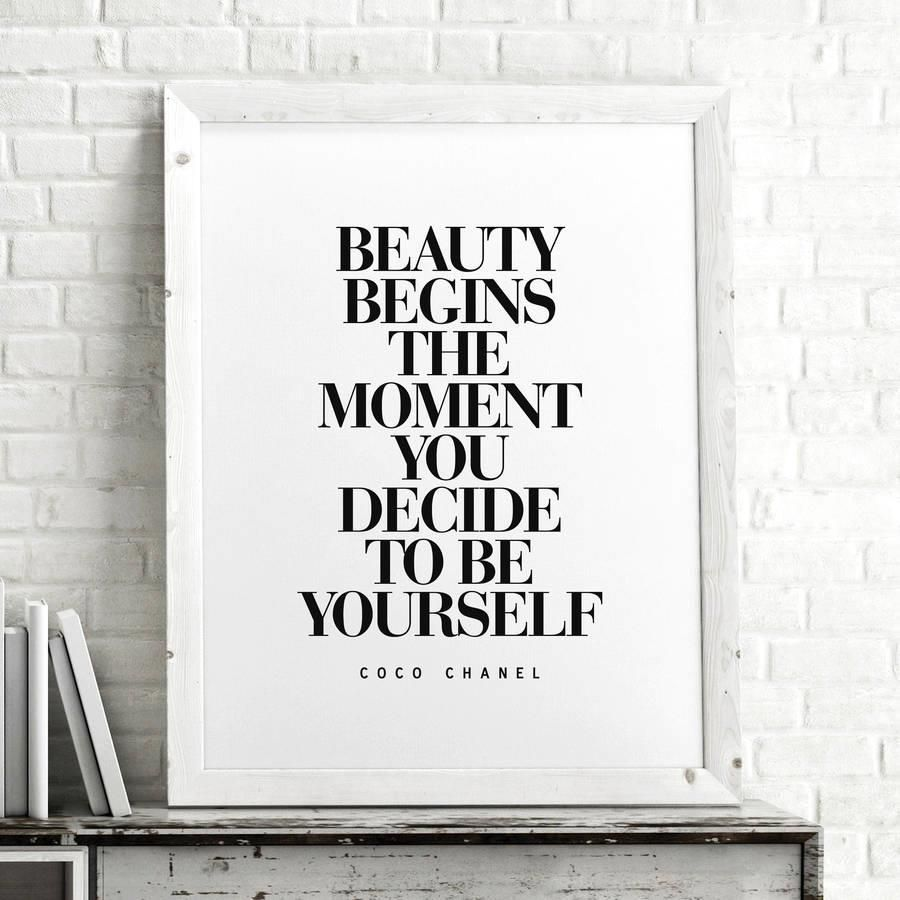 Beauty Begins the Moment You Decide to Be Yourself http://www.amazon.com/dp/B016N0WHDS word art print poster black white motivational quote inspirational words of wisdom motivationmonday Scandinavian fashionista fitness inspiration motivation typography home decor
