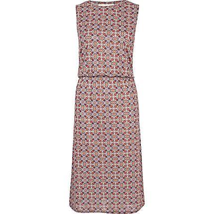 red paisley print midi dress - day dresses - dresses - women - River Island