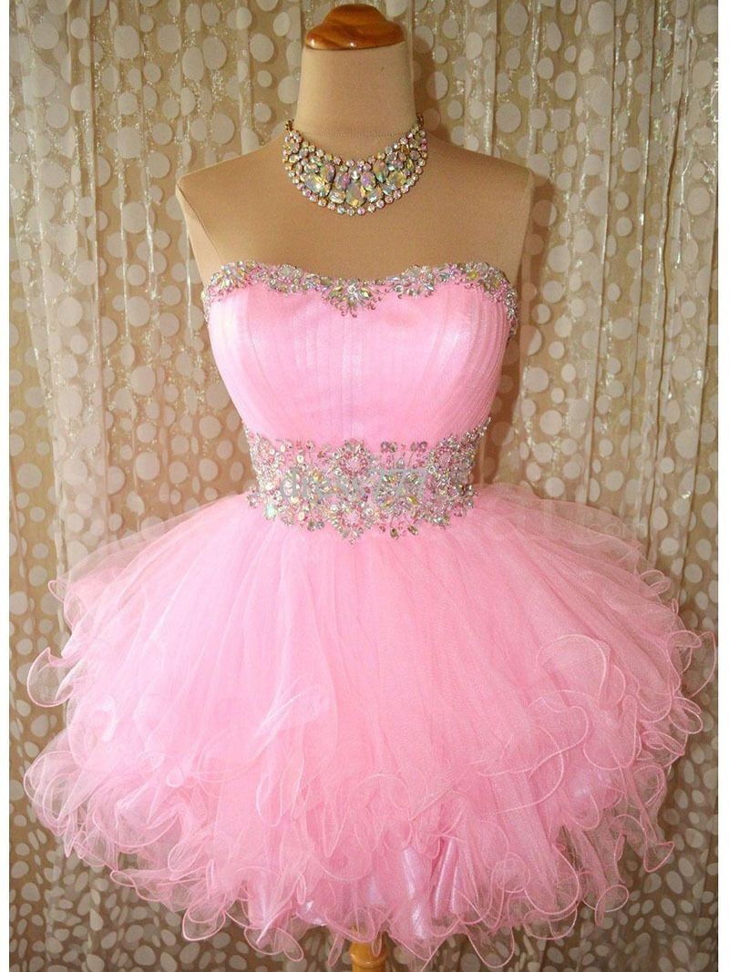 Mz ball gown short puffy pink tulle hot selling cocktail