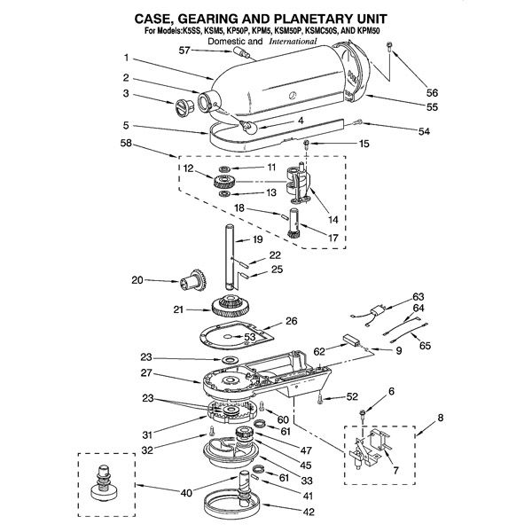 kitchenaid 5 quart artisan parts diagram