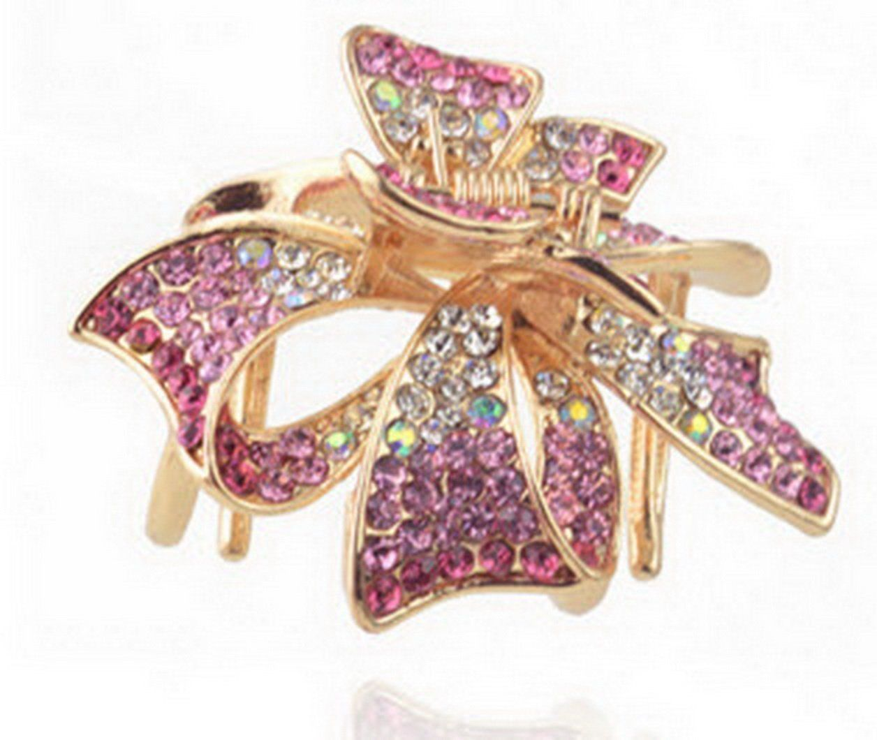 QUALITY Rhinestone Crystal ACRYLIC HAIR CLAW Hairpin Clip French Magenta Pink