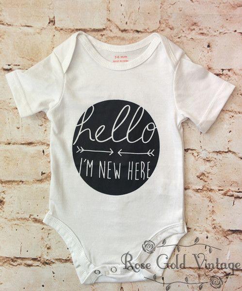 Hello I'm New Here Onesie - White (Infant)