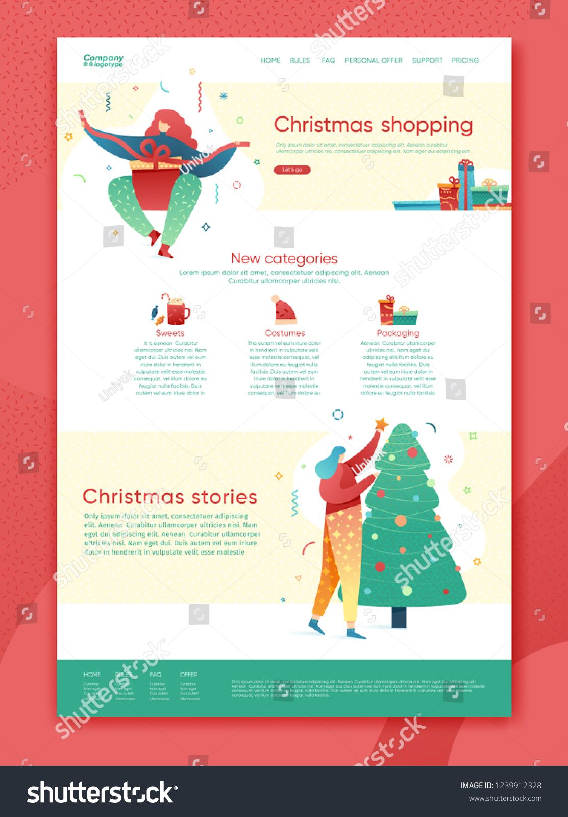 Design Winter Holidays Landing Page Template Merry Christmas Shopping And Happy New Yea Christmas Shopping Websites Vintage Business Cards Christmas Packaging