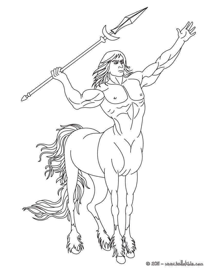kleurplaat centaur the half man and half horse creature coloring