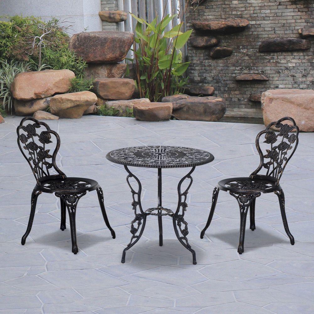 Bistro Dining Set Bronze Cast Aluminum Steel 2 Seater Outdoor