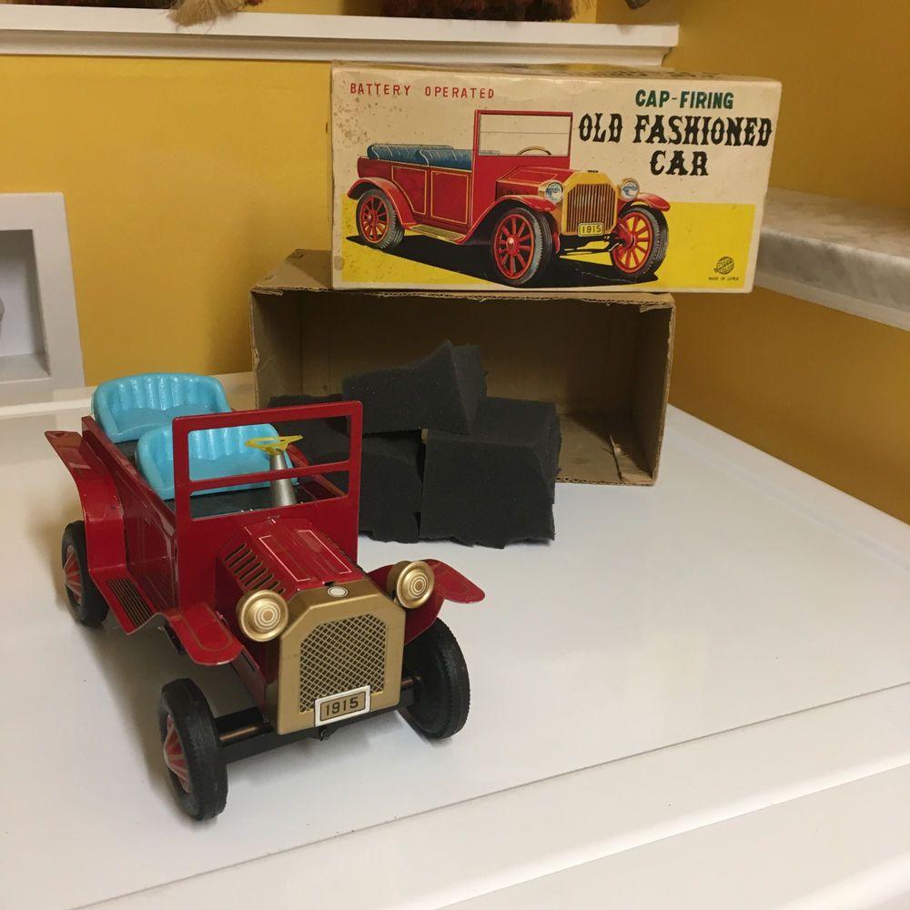 B toys cars  VINTAGE TIN BO CAP FIRING OLD FASHION CAR COMPLETE WBOX FULLY