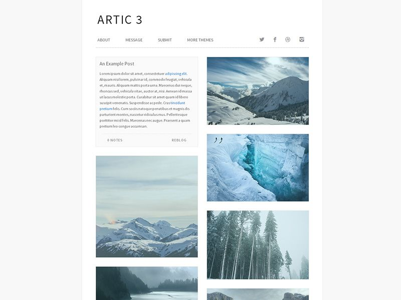 Arctic free minimalist tumblr theme bestthemesfree arctic free minimalist tumblr theme bestthemesfree template pronofoot35fo Gallery