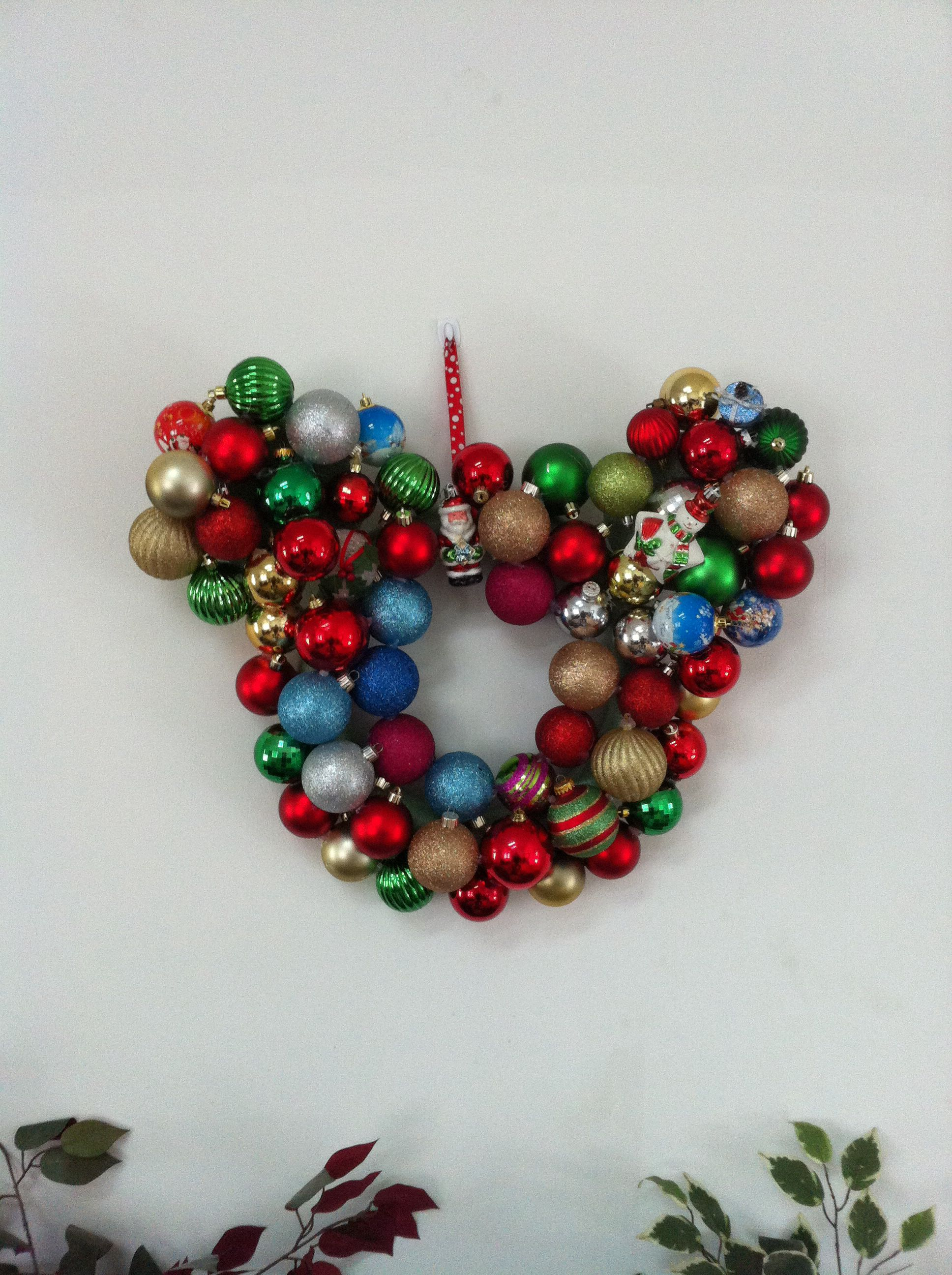Mickey Mouse Head Christmas Wreath Used With Old Ornaments And A Lot Of Hot Glue Xmas Crafts Christmas Wreaths Christmas Party