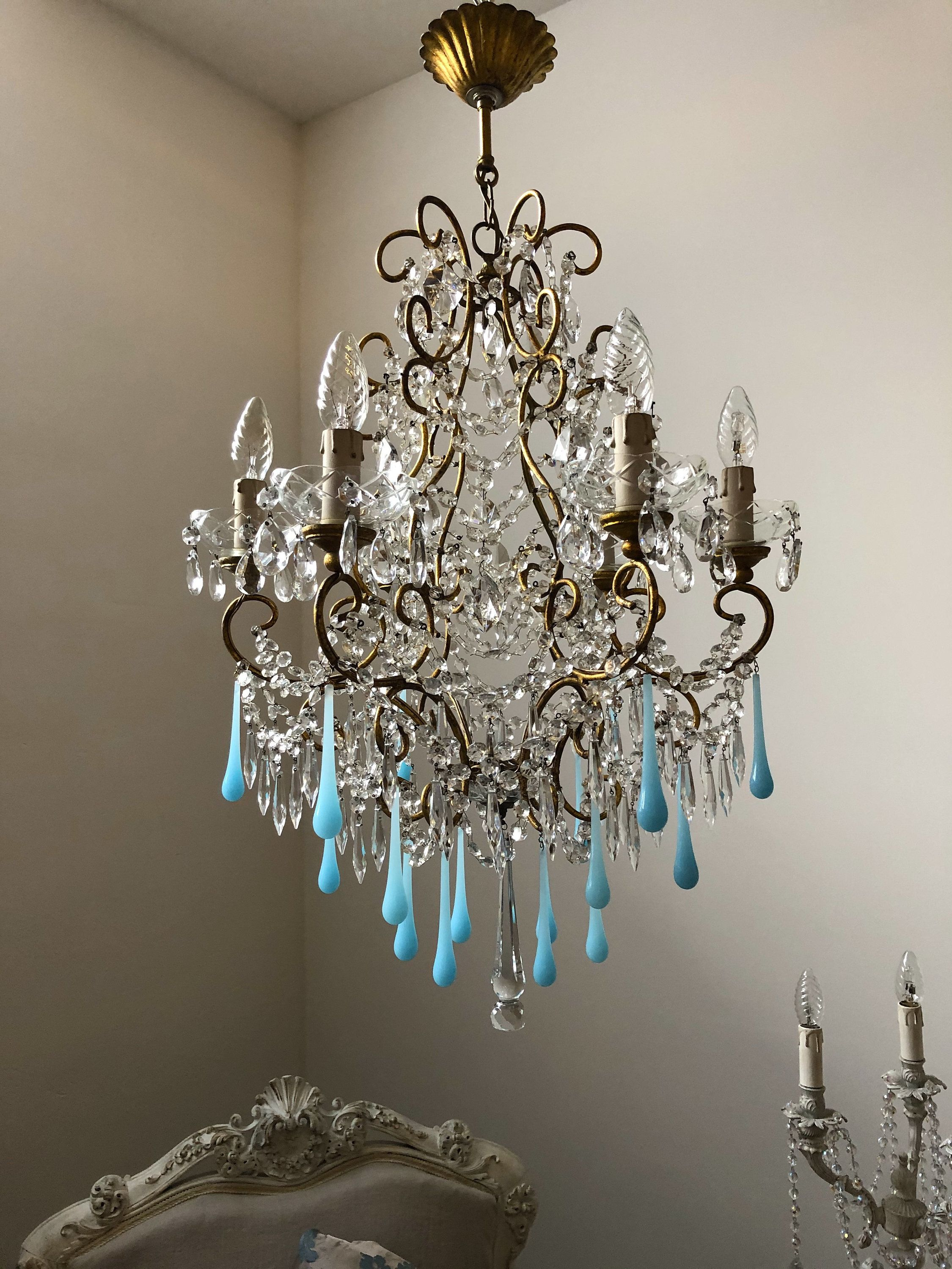 Vintage Italian Gilt Chandelier With Blue Opaline Glass And