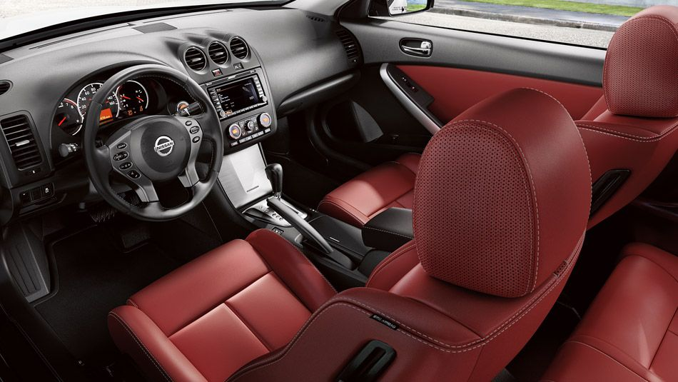 nissan altima coupe 2 5 s shown in red leather vroom. Black Bedroom Furniture Sets. Home Design Ideas