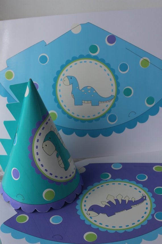 Cute Diy Dinosaur Party Hats. Complete With Spikes Down The Back