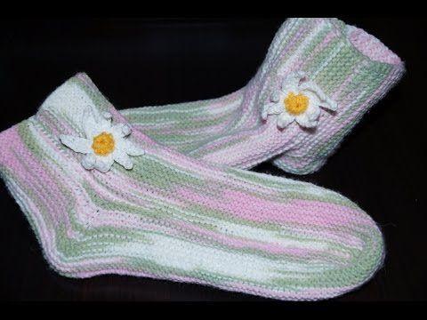 Вязание спицами носки тапочки на двух спицах 695