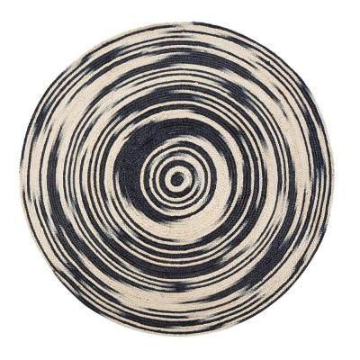 Anji Mountain Hurricane Black 8 Ft Round Area Rug Black Tan In