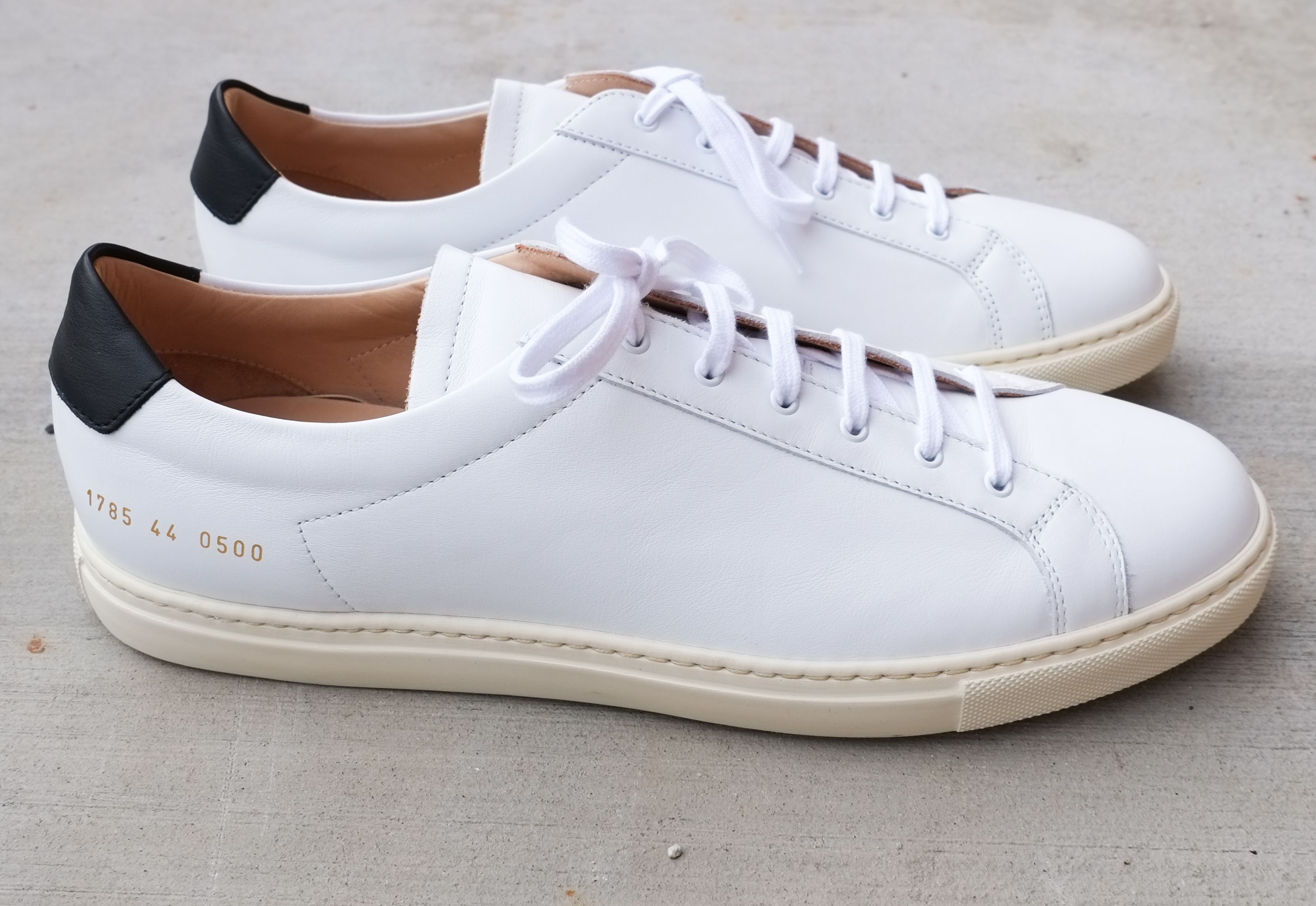 Common projects contrast low top sneakers tobbaco men shoes common projects sample sale Classic Styles