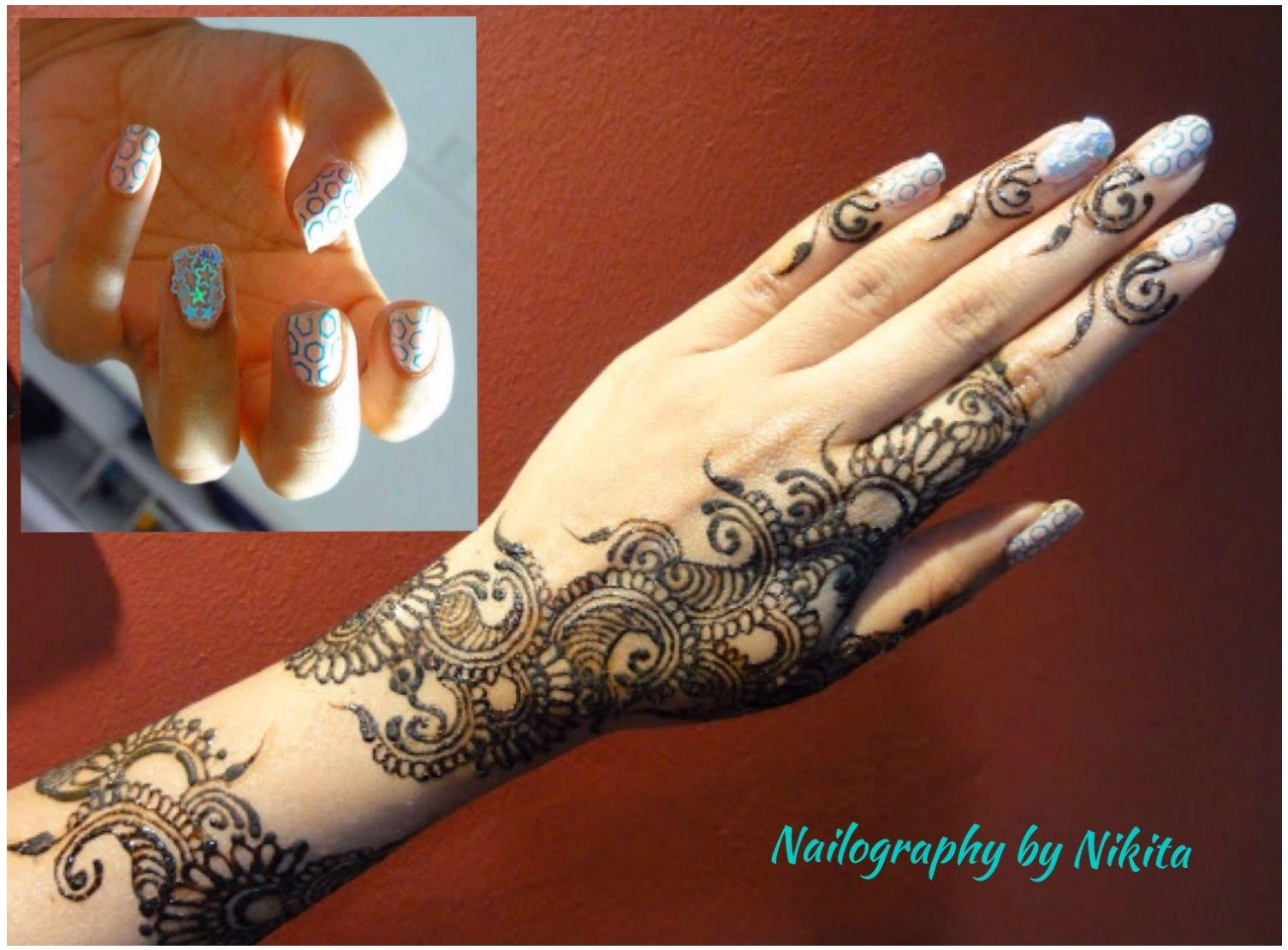 Henna Mehndi Nail Art : Henna mehendi with nail art nailography by nikita