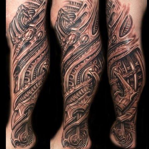 Realistic 3d Tattoos Designs On Leg Sleeve Biomechanik Tattoo Beintattoo Manner Tattoos Arm Mann