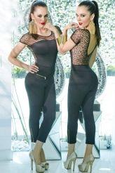 Sexy V Neck Back Lace Splice Jumpsuit
