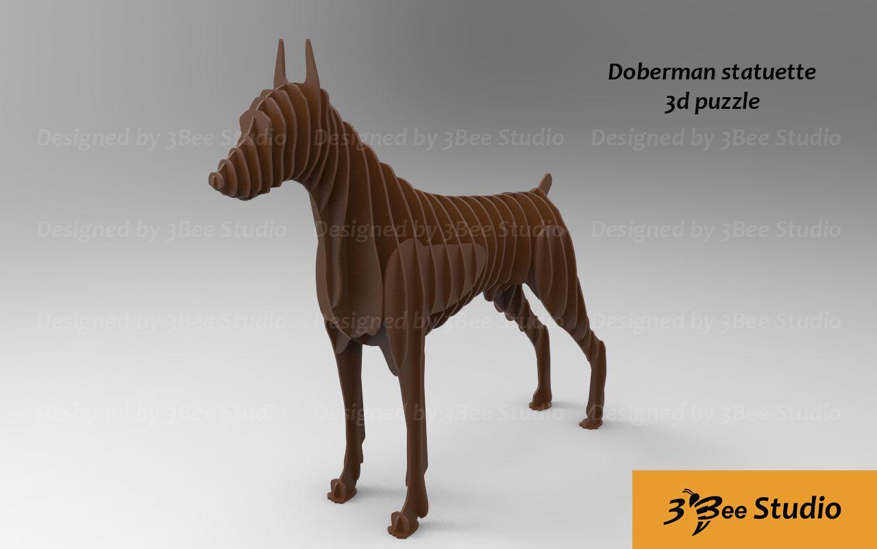 Doberman Statuette 3d Puzzle Plan Vector File For Cnc Statuettes  # Beestudio Muebles