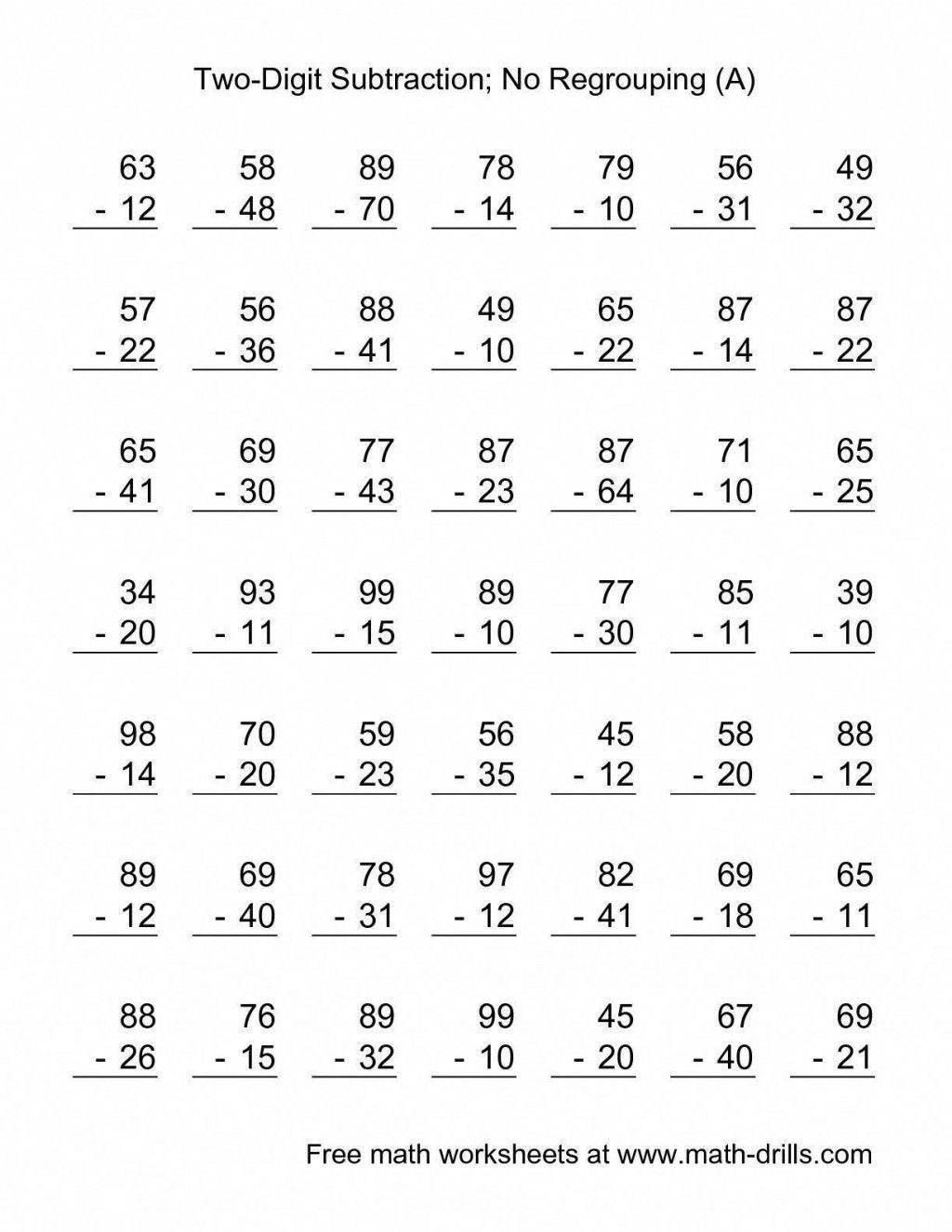 4 Worksheet Free Math Worksheets First Grade 1 Addition Add In Columns 2  Dig…   2nd grade math worksheets [ 1325 x 1024 Pixel ]