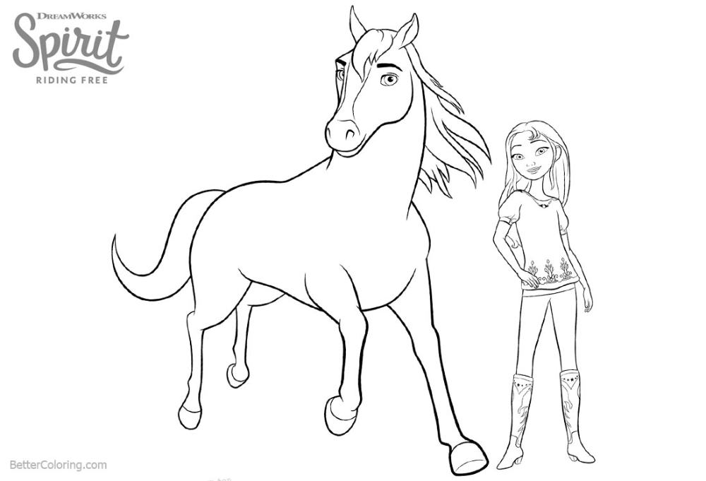 Free Lucky From Spirit Riding Free Coloring Pages With Horse Printable For Kids And Adults You Can Download A Coloring Pages Free Coloring Pages Free Coloring