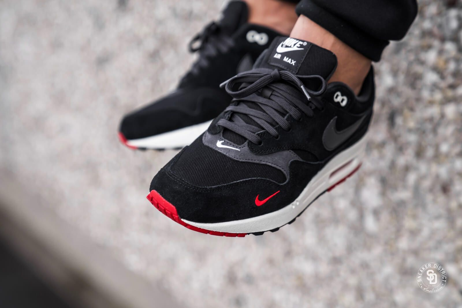 71dc6b243e17 Nike Air Max 1 Premium Mini Swoosh Black University Red - 875844-007 ...