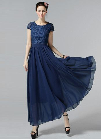 cbbbc0a45c Navy Lace Chiffon Maxi Dress with Cap Sleeves and Layered Waist RM606 –  RobePlus