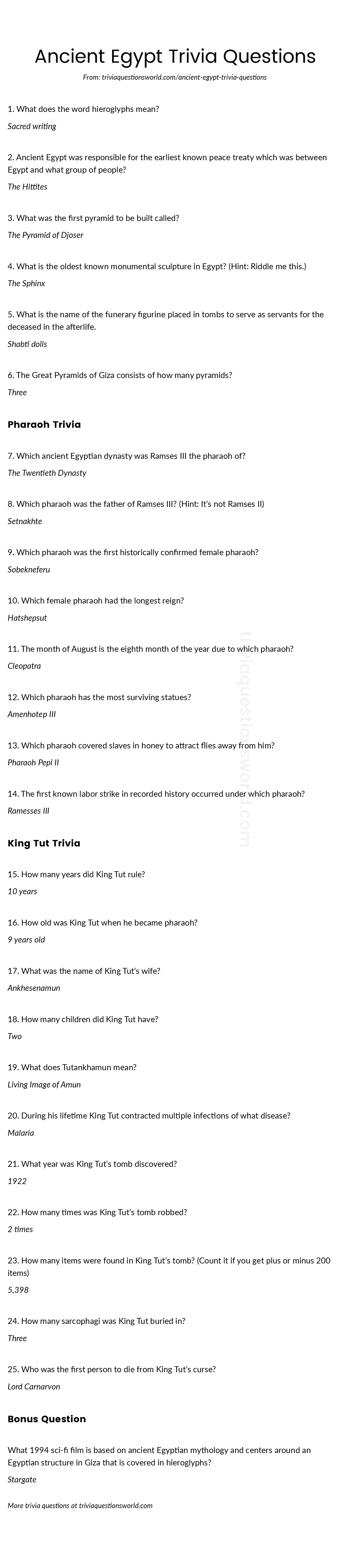 Ancient Egypt Trivia Questions And Answers