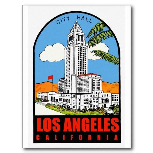 Vintage Los Angeles City Hall Travel Ad Postcard Zazzle Com Los Angeles City Los Angeles Vintage Los Angeles