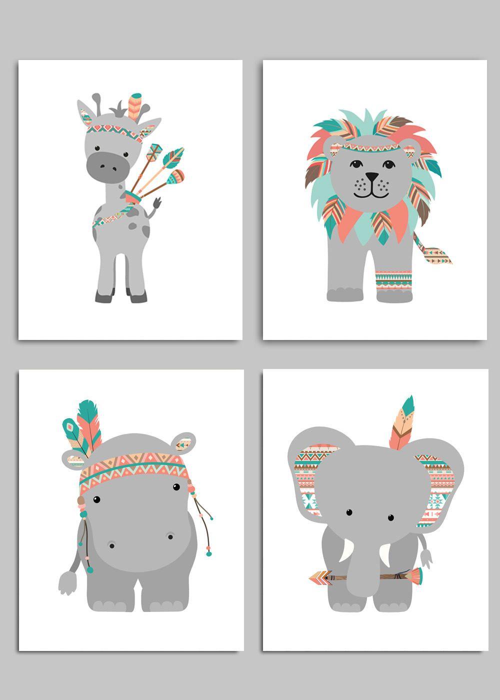 Kids Bedroom Wall Art Pictures Playroom Tribal Jungle Animal Nursery Prints