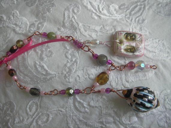 Pink Chiffon Bracelet handmade clay poly clay hand by BlueOpera, $19.75
