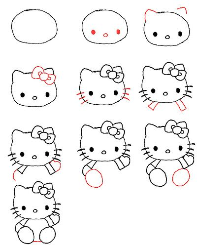 How To Draw Hello Kitty Drawing For Kids Hello Kitty Easy Drawings