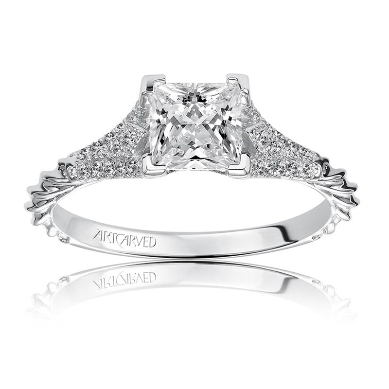 Regina. ArtCarved Diamond Engagement Ring Setting in 14k White Gold