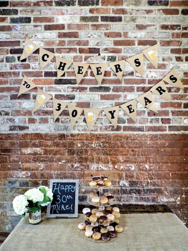 A Beer Burlap And Doughnut Birthday Party 30th Via Boston Chic