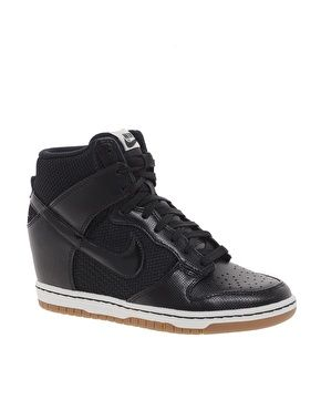 nike dunk sky high mesh black wedge sneakers