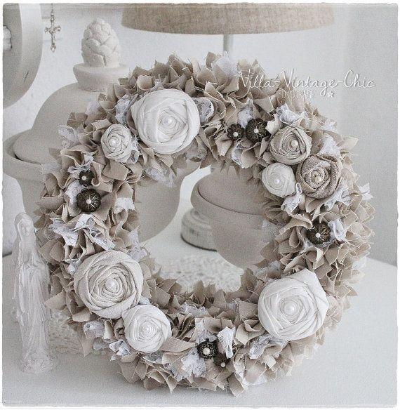 Shabby Chic Deko Ideen Weihnachten Das Beste Von Diy: Romantischer Stoffkranz Rosen Von VillaVintageChic Auf
