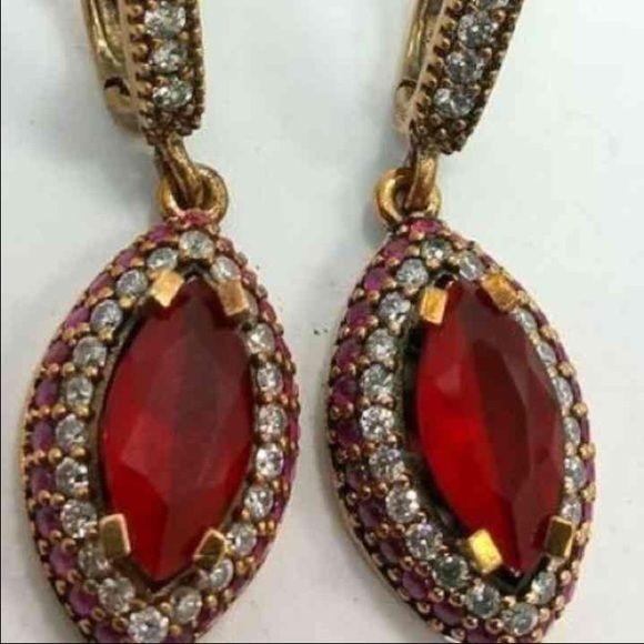 turkish 925 sterling silver earrings ruby white topaz jewelry earrings