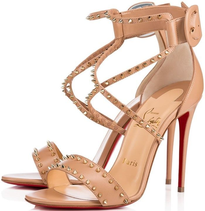Christian Louboutin Nude Choca 150 Sandals Red-sole Heels