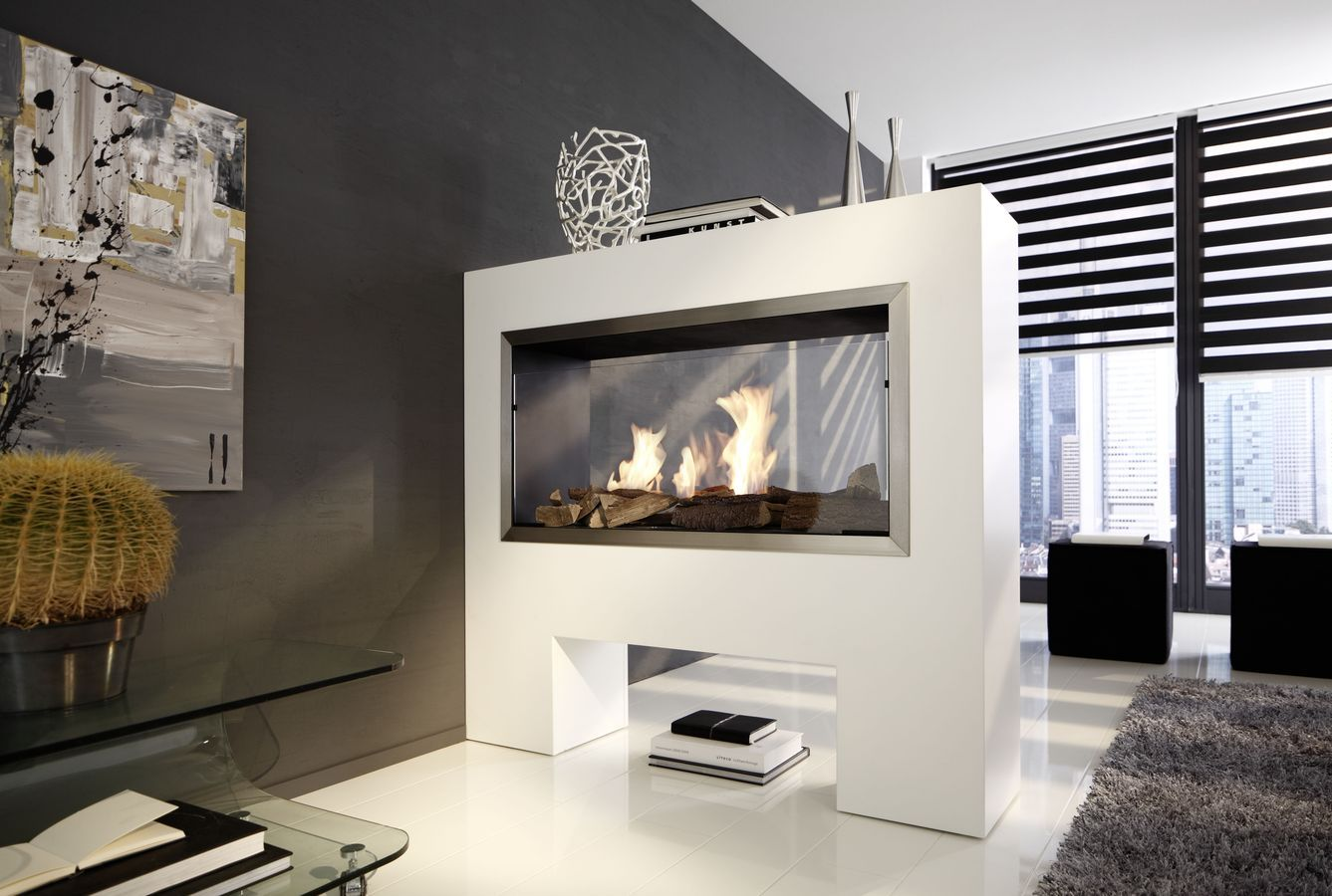 Kamine Ingolstadt Contemporary Double Sided Fireplace Bioethanol Open Hearth