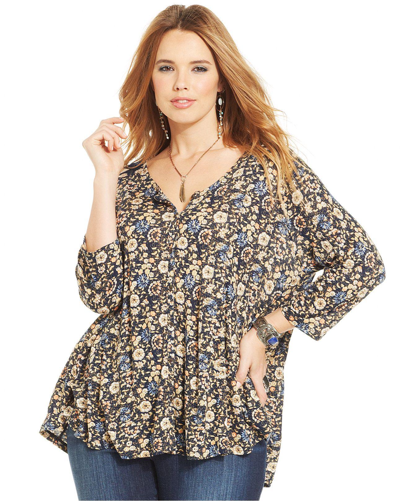 Lucky Brand Plus Size Floral-Print Blouse - Plus Size Sale ...