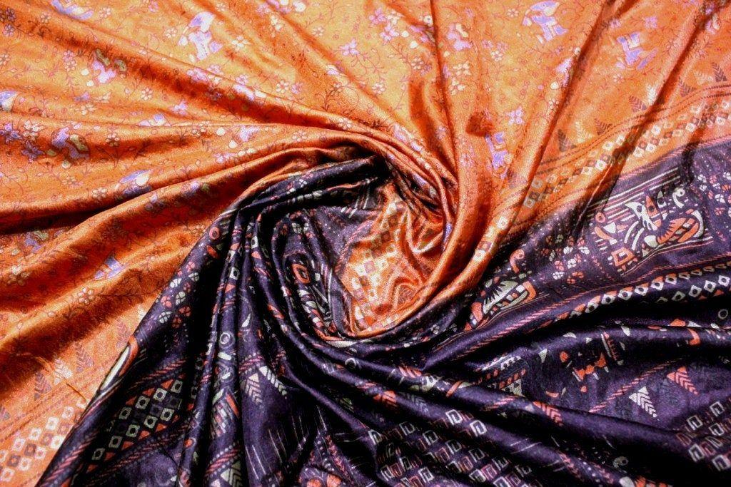 Indian Vintage Indian Traditional Sari Clothing Art Deco Recycled Sari Art Silk Printed Fabric Women Wrap Floral Sari 5 Yrd Fabric R#340 #saridress