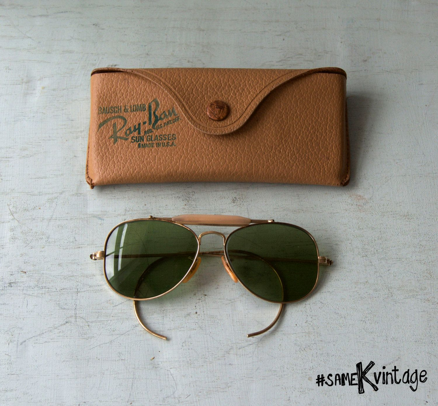 fe49107be #RayBan Bausch & Lomb Aviator RB3 Mini #Outdoorsman 12K Gold Green Lens  Vintage; FREE SHIPPING by sameKVintage on Etsy